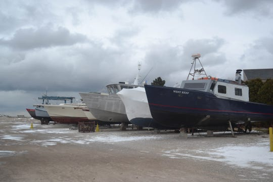 Boats are moored for the winter at Shrock's Marina.