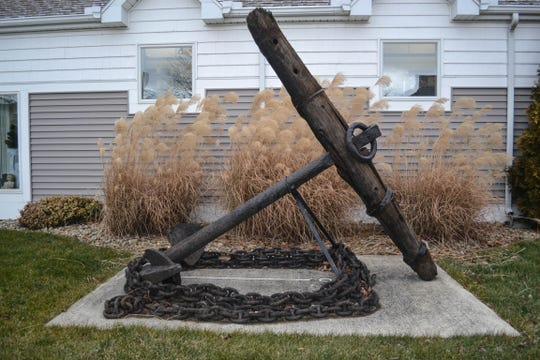This anchor from a 19th century tall ship was pulled from Lake Erie after it snagged a federal research boat and is now on display outside the Ottawa County Museum.