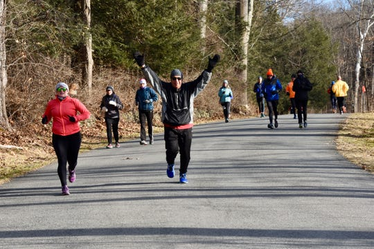 Runners take part in the Recover from the Holidays 50-kilometer run in Staatsburg on Jan. 13.