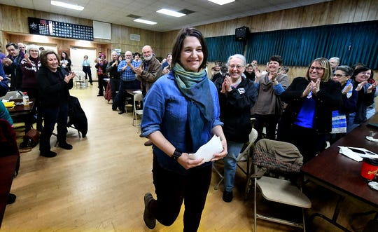 Former U.S. House candidate Jess King is announced during a York Stands Up meeting at Goodwill Fire Hall in Jacobus Sunday, Jan. 13, 2019. King lost the election for the seat to Lloyd Smucker. Bill Kalina photo