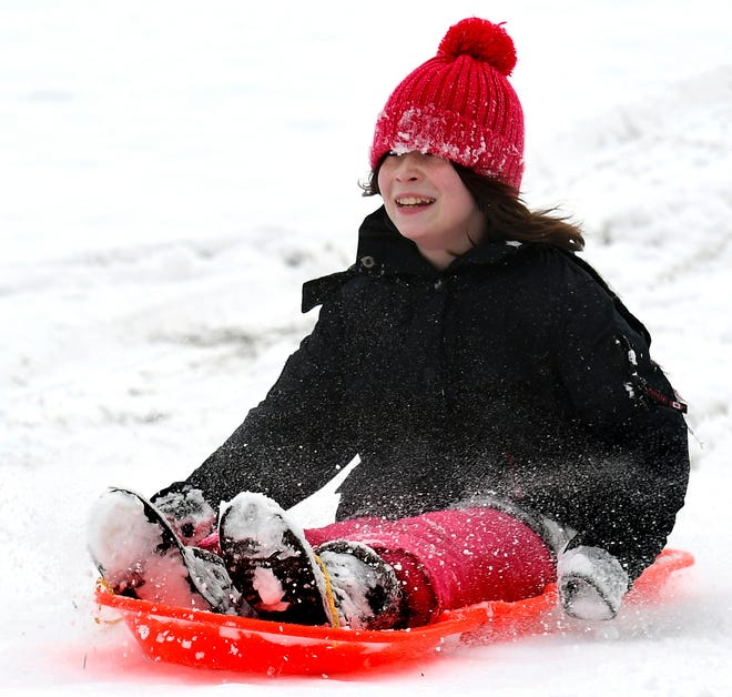 Meadow Manning, 11, of York City, sleds at Reservoir Park in Spring Garden Township Sunday, Jan. 13, 2019. More snow is in the forecast for the area later this week. Bill Kalina photo