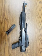 York City Police said they seized this 9 mm rifle, with the butt stock removed, while arresting accused carjacker Ernest Dyer Jr. Police said Dyer used the rifle in a Jan. 9, 2019, carjacking.