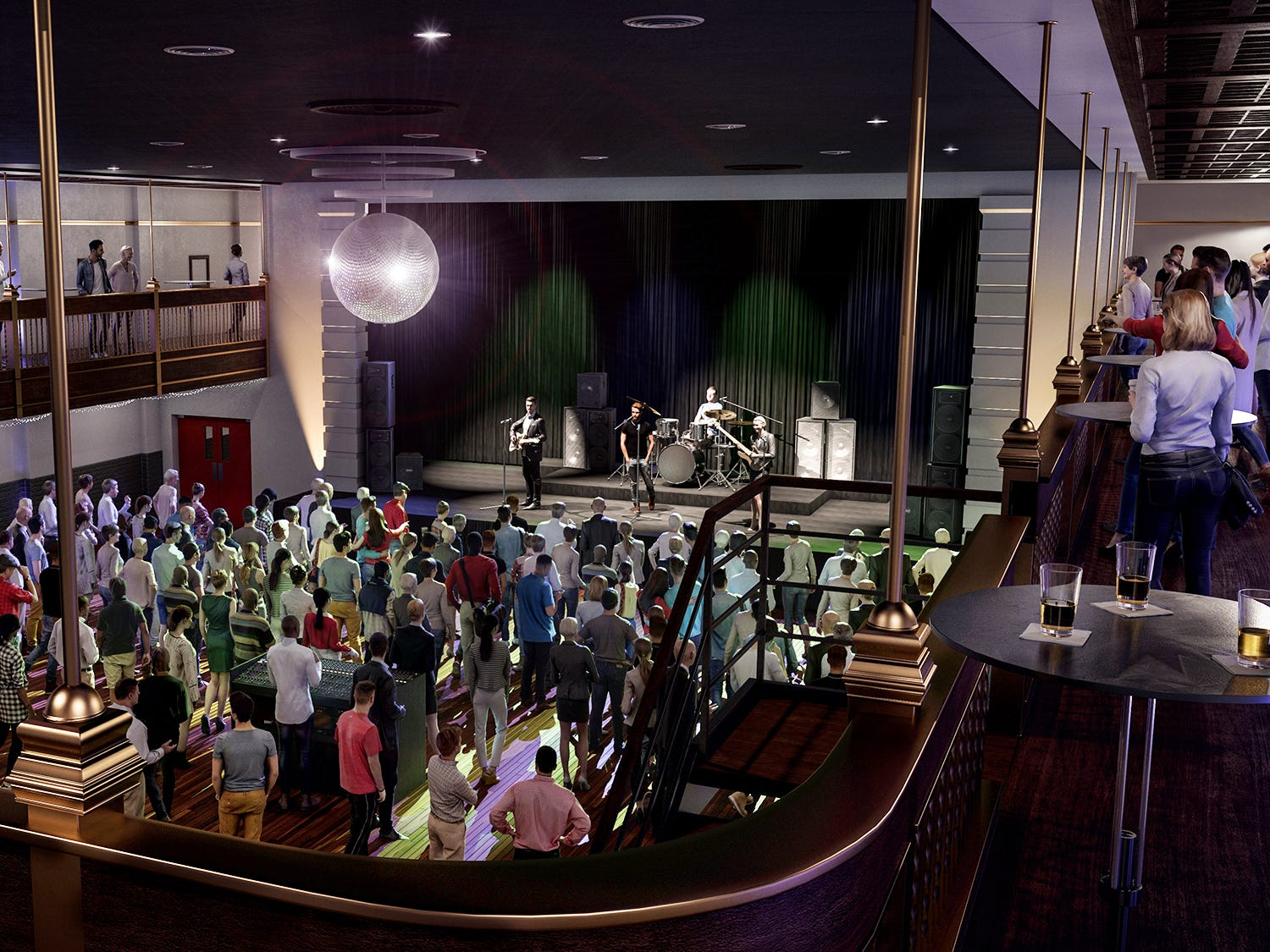 In this artist rendering, the main room inside the former Cobblestones building is a rock club with a stage built at one end.