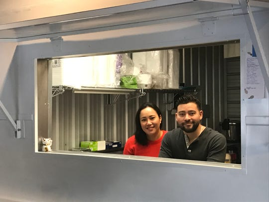 Keliana Saffery and her husband, Joe Najera, own Kenji's restaurant. They closed their food truck of the same name to open the new South Reno spot but installed a section of a similar truck, shown here, to enliven the new place.