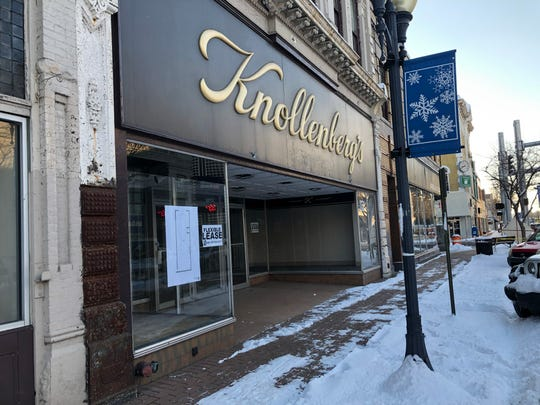 Signs advertising retail spaces available for lease have gone up in the windows of the Knollenberg's building in downtown Richmond.