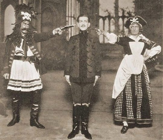 "Photo of Frederick Hobbs, James Hay and Bertha Lewis in ""The Pirates of Penzance"" in 1919. Although the Gilbert and Sullivan classic was quite successful worldwide, it failed to deliver in Richmond."