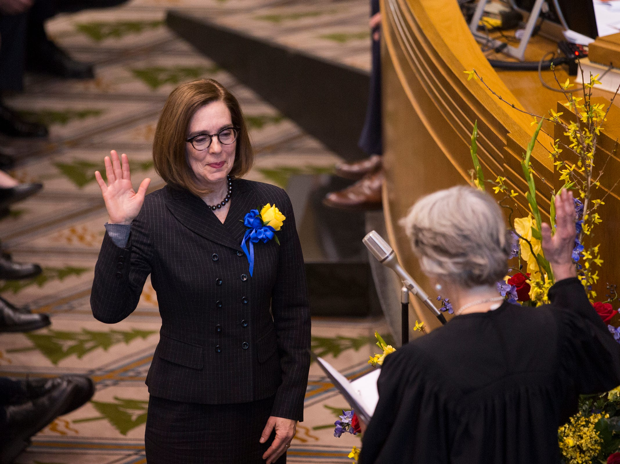 Governor Kate Brown is sworn in at her inauguration at the Oregon State Capitol on Jan. 14, 2019.