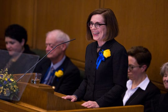 Governor Kate Brown addresses the state legislature at her inauguration at the Oregon State Capitol on Jan. 14, 2019.