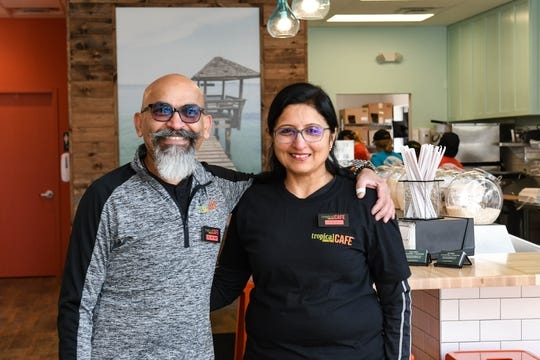 Owners Sam and Hamali Mehta pose in their new fast casual restaurant Tropical Smoothie Cafe that opens in Salisbury on Tuesday, Jan. 15, 2019.