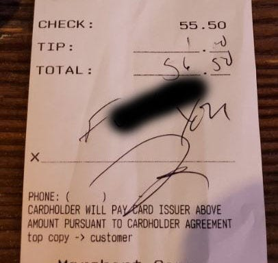 "A customer left a $1.00 tip on a $55.50 bill at Shenanigan's over the weekend, the establishment tweeted. The ""tip"" included a vulgar note."