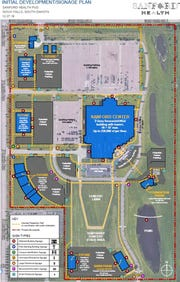 A map of Sanford Health's plans for its northeastern Sioux Falls campus