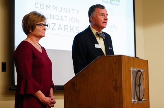 Brian Fogle, President of Community Foundation of the Ozarks, and Judy Hadsall, President of Multipli Credit Union, announces a partnership to offer no-interest loans to federal employees affected by the government shutdown on Monday, Jan. 14, 2019.