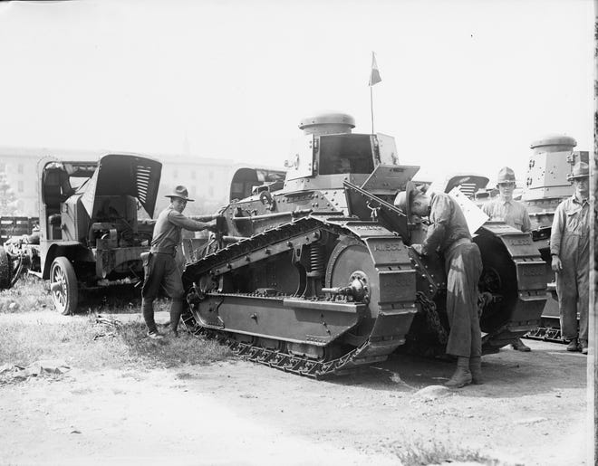 A tank similar to this one, on display in Washington, D.C., following the Great War, churned through the streets of Staunton in 1919.
