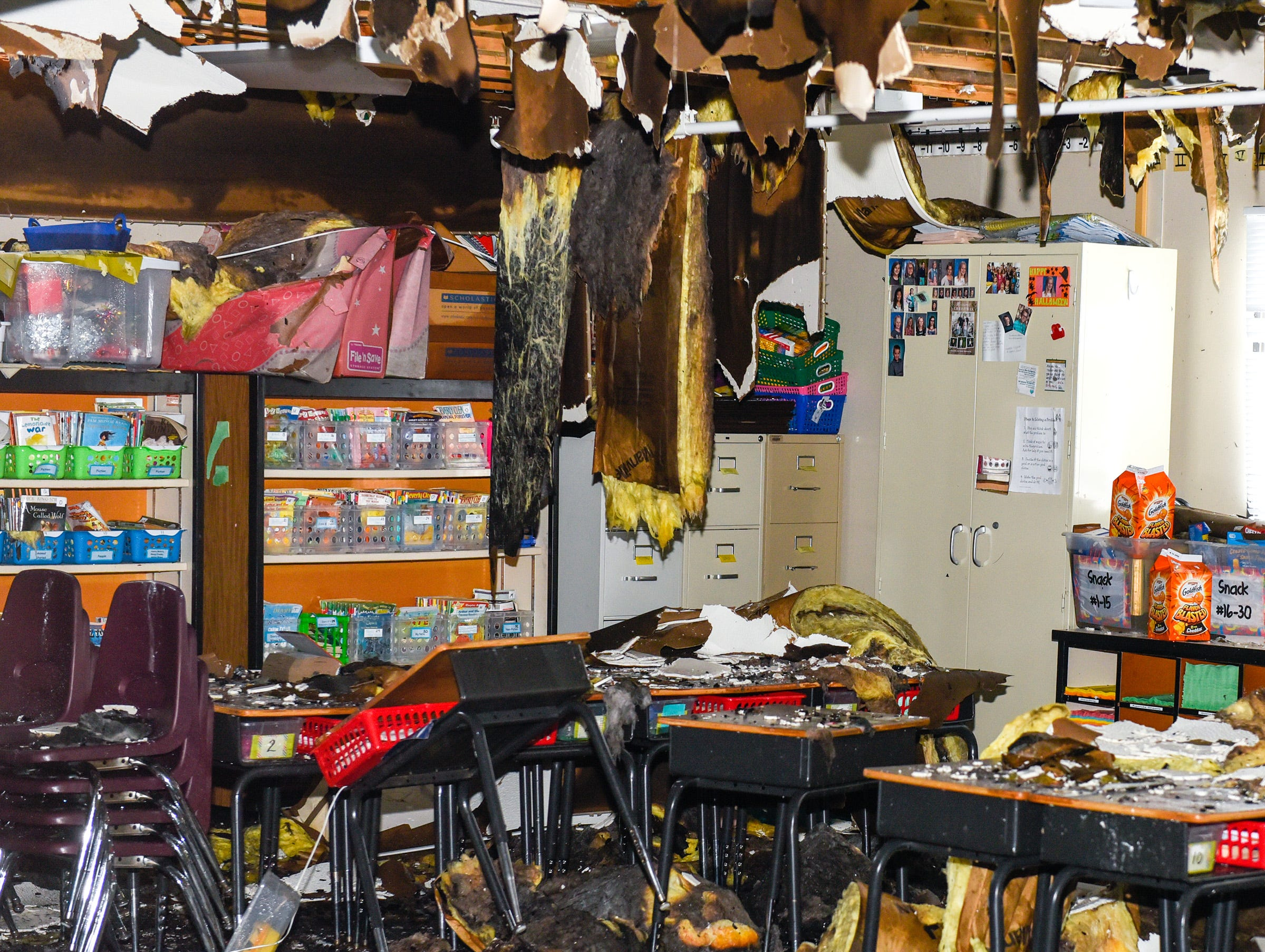 A damaged classroom at Pleasantview Elementary School shown Monday, Jan. 14, after a fire Sunday night in Sauk Rapids.