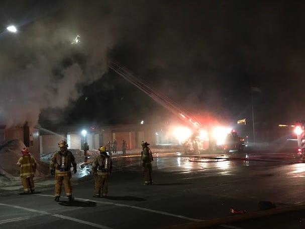 Sauk Rapids fire crews poured water on a portable classroom Sunday night.