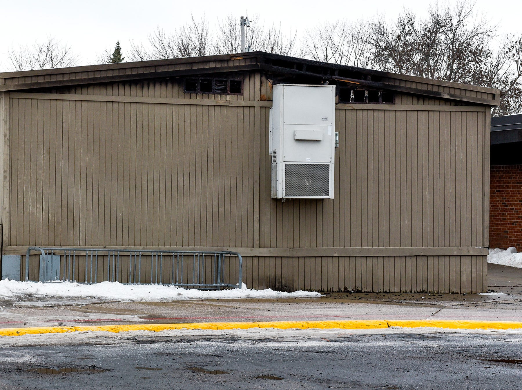 A damaged section of classrooms at Pleasantview Elementary School in Sauk shown Monday, Jan. 14, after a fire Sunday night.