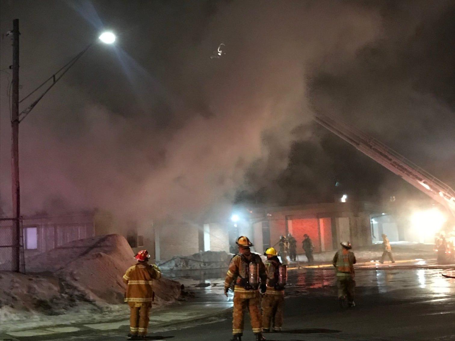 Sauk Rapids fire crews Sunday night battled a blaze at Plesantview Elementary School.