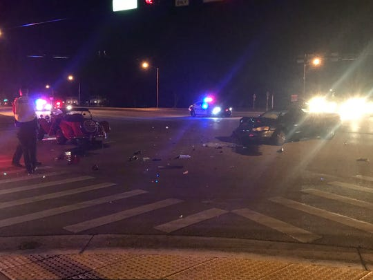 One person was seriously injured in a crash Monday night, Jan. 14, 2019, at Indian River and Royal Palm boulevards in Vero Beach.