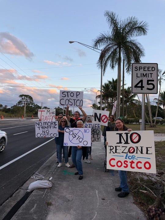 Protesters against a Costco Wholesale building a store on Kanner Highway gathered in front of the proposed site Friday Jan. 11, 2019.