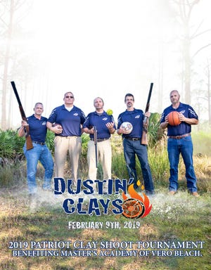 Master's Academy Athletic Department staff and board members, from left, Phil DeLange, Steven Boyer, Jon Longnecker, Bob Flaming and Brian McNeal support the 2019 Patriot Clay Shoot.