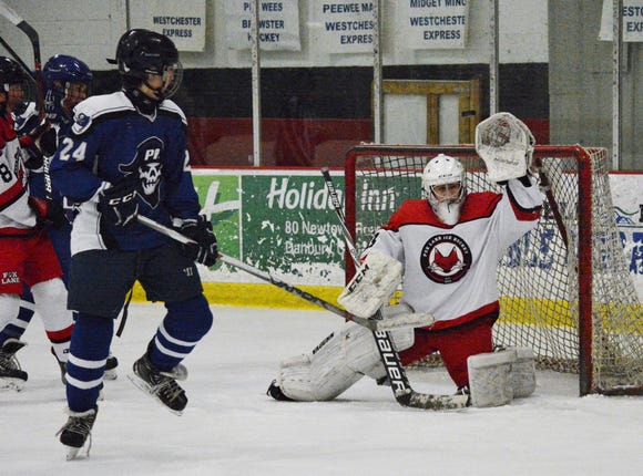 Freshman goalie Daniel  Rojas made 29 saves for the Foxes in a 10-8 loss to Pearl River on Sunday, Jan. 13, 2019 at Brewster Ice Arena.  He's recorded five wins and one shutout this season.