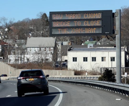 An electronic sign announcing the closing of the Gov. Mario M. Cuomo Bridge for Tuesday, Jan. 15, 2019, from 10a.m.-11a.m., is pictured along I-287 in White Plains, Jan. 14, 2019.