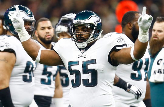 Philadelphia Eagles defensive end Brandon Graham (55) celebrates a defensive play against the New Orleans Saints in the first half of an NFL divisional playoff football game in New Orleans, Sunday, Jan. 13, 2019. (AP Photo/Butch Dill)