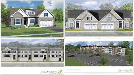 Architectural renderings of proposed new homes in the area of the former  Three Little Bakers golf course.