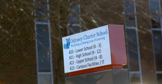 Outside Odyssey Charter School in January.