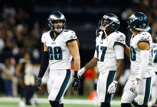 Philadelphia Eagles wide receiver Alshon Jeffery (17) reacts after the New Orleans Saints intercepted a pass in the second half of an NFL divisional playoff football game in New Orleans, Sunday, Jan. 13, 2019. The Saints won 20-14 to advance to the NFC Championship. (AP Photo/Butch Dill)