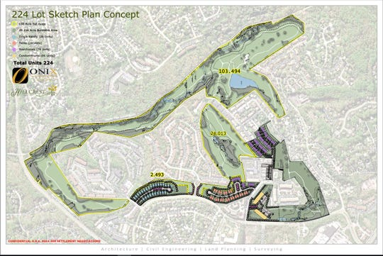 A pending plan for development of the former Three Little Bakers golf course.