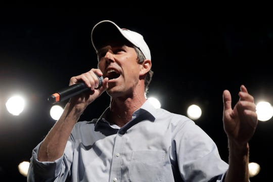 FILE - In this Nov. 5, 2018, file photo. Rep. Beto O'Rourke, D-El Paso, the 2018 Democratic candidate for U.S. Senate in Texas, speaks during a campaign rally in El Paso, Texas. O'Rourke barged into last year's Texas Senate race almost laughably early in March 2017. Now, as the onetime punk rocker mulls a much-hyped White House bid for 2020, he's doing anything he can to stay in the spotlight without formally starting a campaign.  (AP Photo/Eric Gay, File)