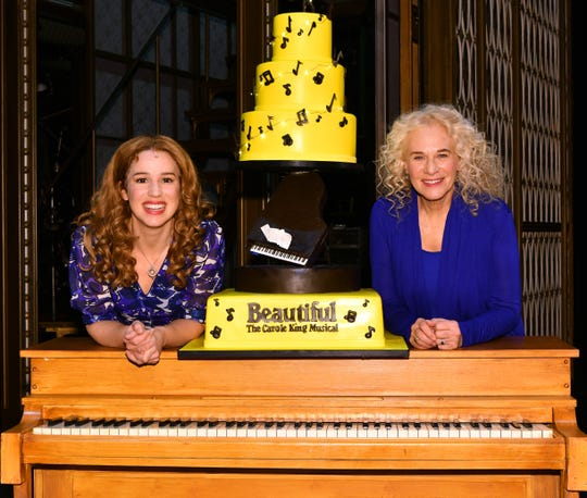 """Carole King and """"Beautiful"""" star Chilina Kennedy pose for a photo at Stephen Sondheim Theatre. King surprised the audience Jan. 12, appearing for a song at the end of the show to celebrate its five years on Broadway."""