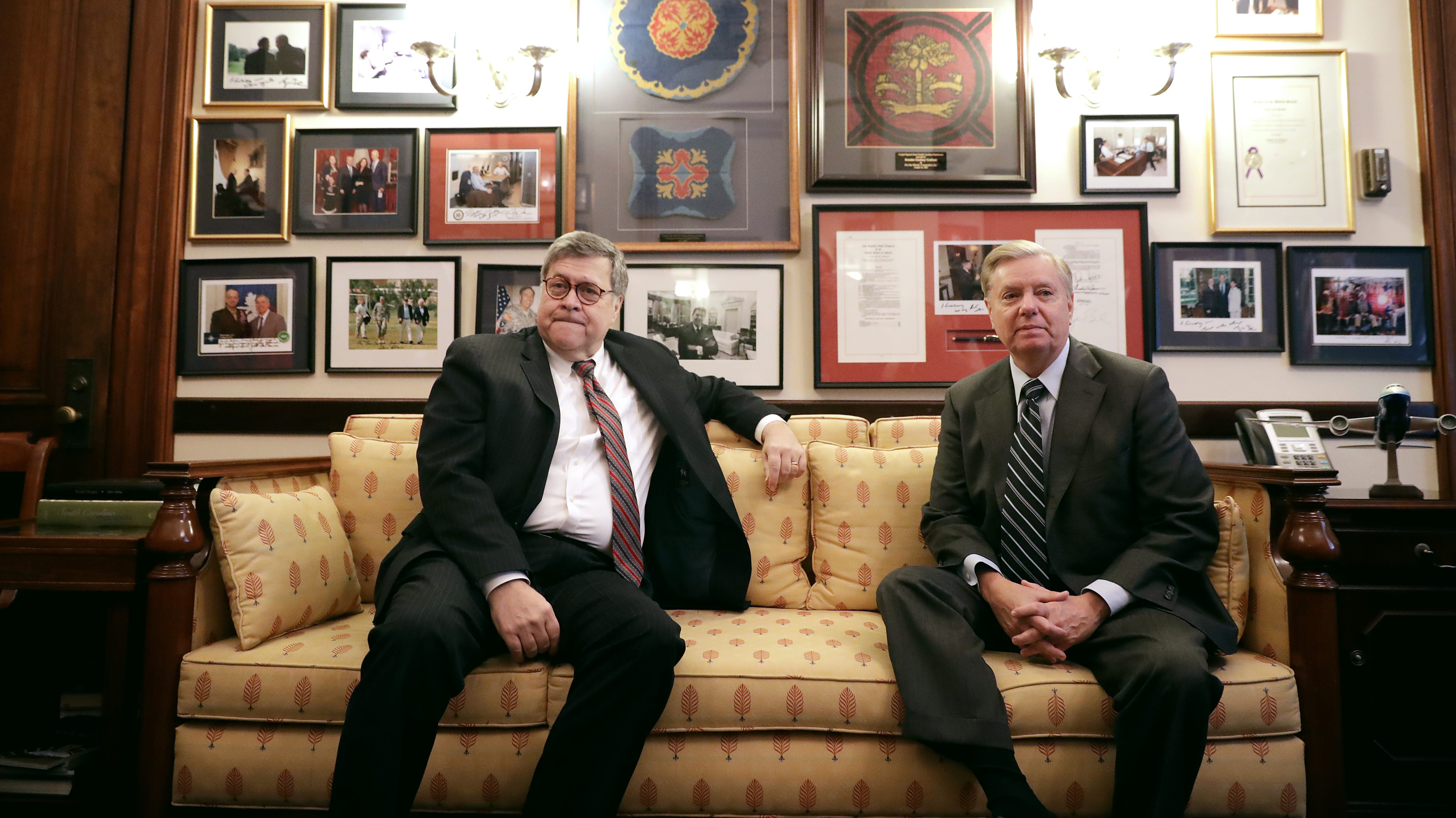 WASHINGTON, DC - JANUARY 09: Attorney General nominee William Barr (L) poses for photographs before a meeting with Senate Judiciary Committee member Sen. Lindsey Graham (R-SC) in his office in the Russell Senate Office Building on Capitol Hill January 09, 2019 in Washington, DC. Barr's confirmation hearing is scheduled for next week.  (Photo by Chip Somodevilla/Getty Images) ORG XMIT: 775279432 ORIG FILE ID: 1091785708