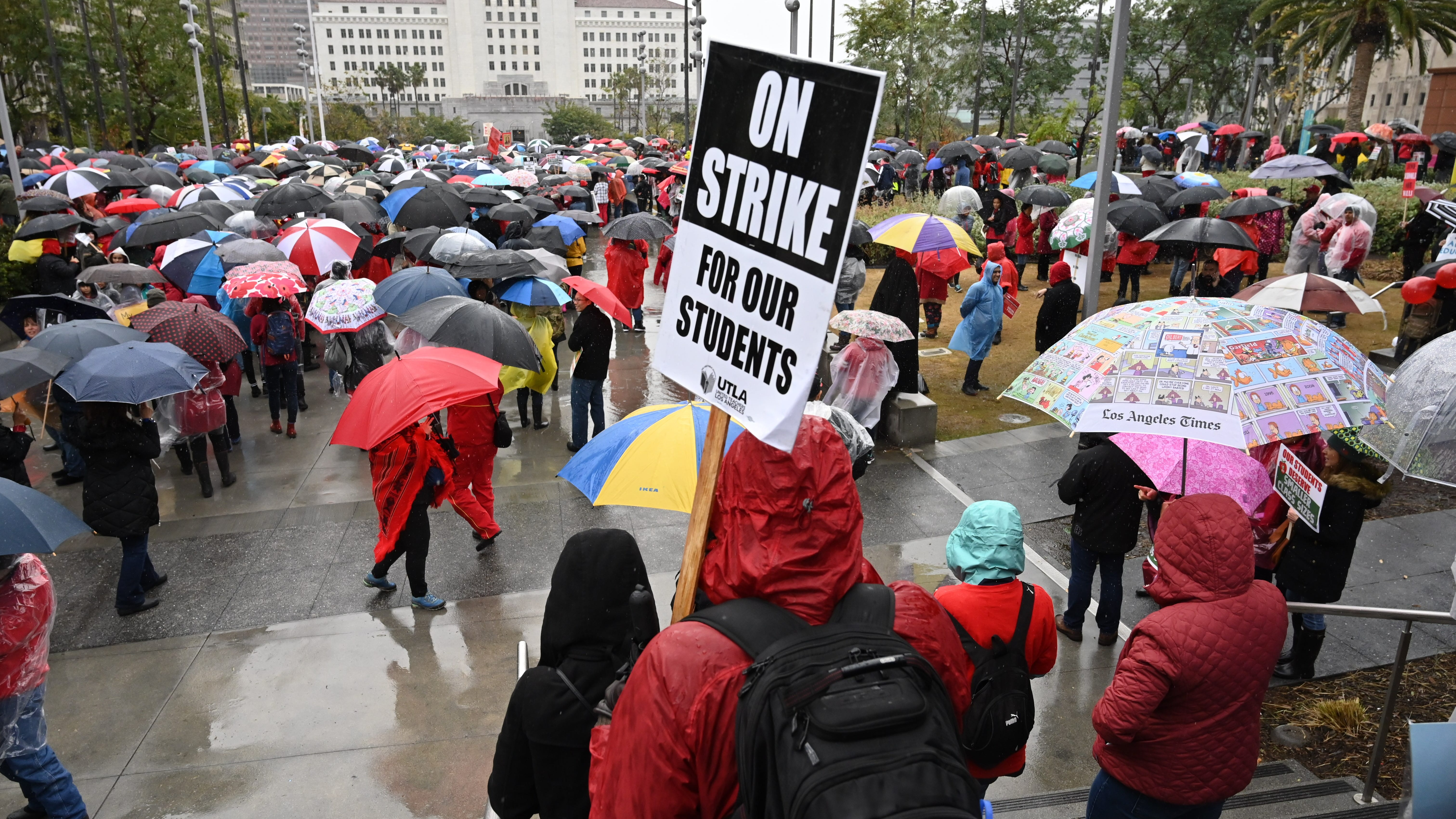 Thousands of teachers and supporters gather for a rally at Grand Park in downtown Los Angeles, Jan. 14, 2019.