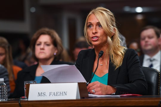 Rhonda Faehn, former women's program director for USA Gymnastics, testifies before a Senate subcommittee  on June 5, 2018 in Washington.