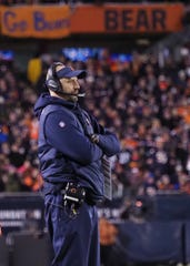 Chicago Bears head coach Matt Nagy in the fourth quarter of a NFC Wild Card playoff football game against the Philadelphia Eagles at Soldier Field.