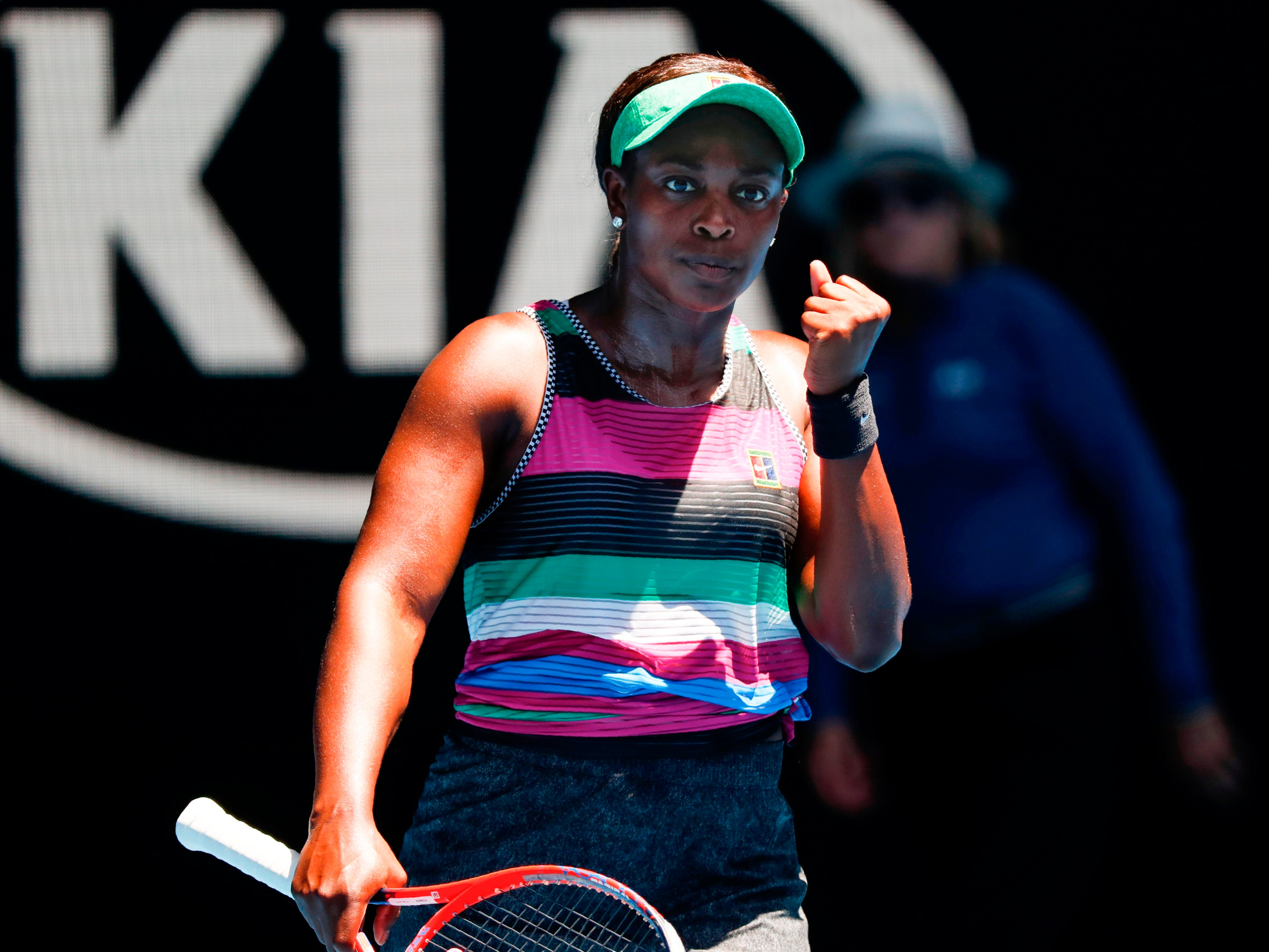 No. 5 seed Sloane Stephens reacts after winning a point during her 6-4, 6-2 win over American compatriot Taylor Townsend in the first round.