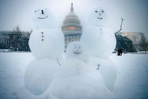 Snowmen are seen on Capitol Hill during a winter storm Jan. 13, 2019 in Washington, D,C. -