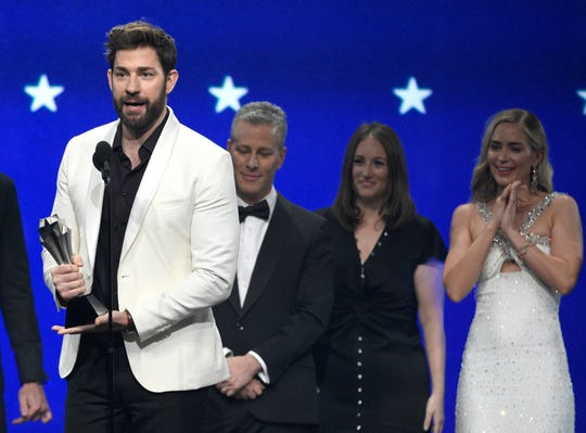 "John Krasinski lead the cast and crew of ""A Quiet Place"" in accepting the award for best sci-fi or horror movie at the Critics' Choice Awards."