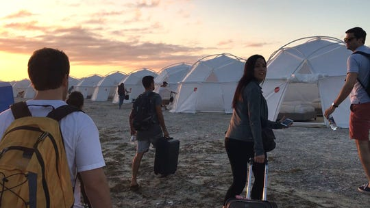 "This image from Netflix's ""Fyre"" documentary show what the ""villas"" looked like at Fyre Fest."