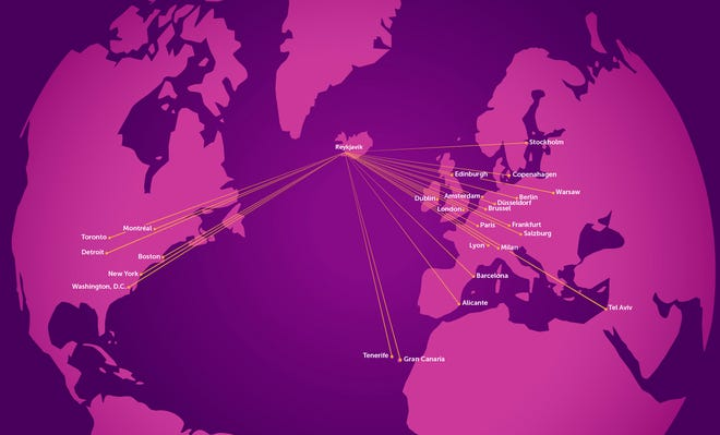 Icelandic budget carrier WOW Air provided this updated route map to USA TODAY on Jan. 14, 2019.