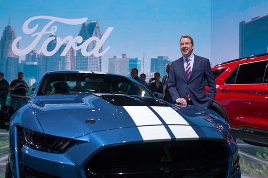 Ford Motor Co. Executive Chairman Bill Ford Jr. next to the all-new 2020 Mustang Shelby GT 500.
