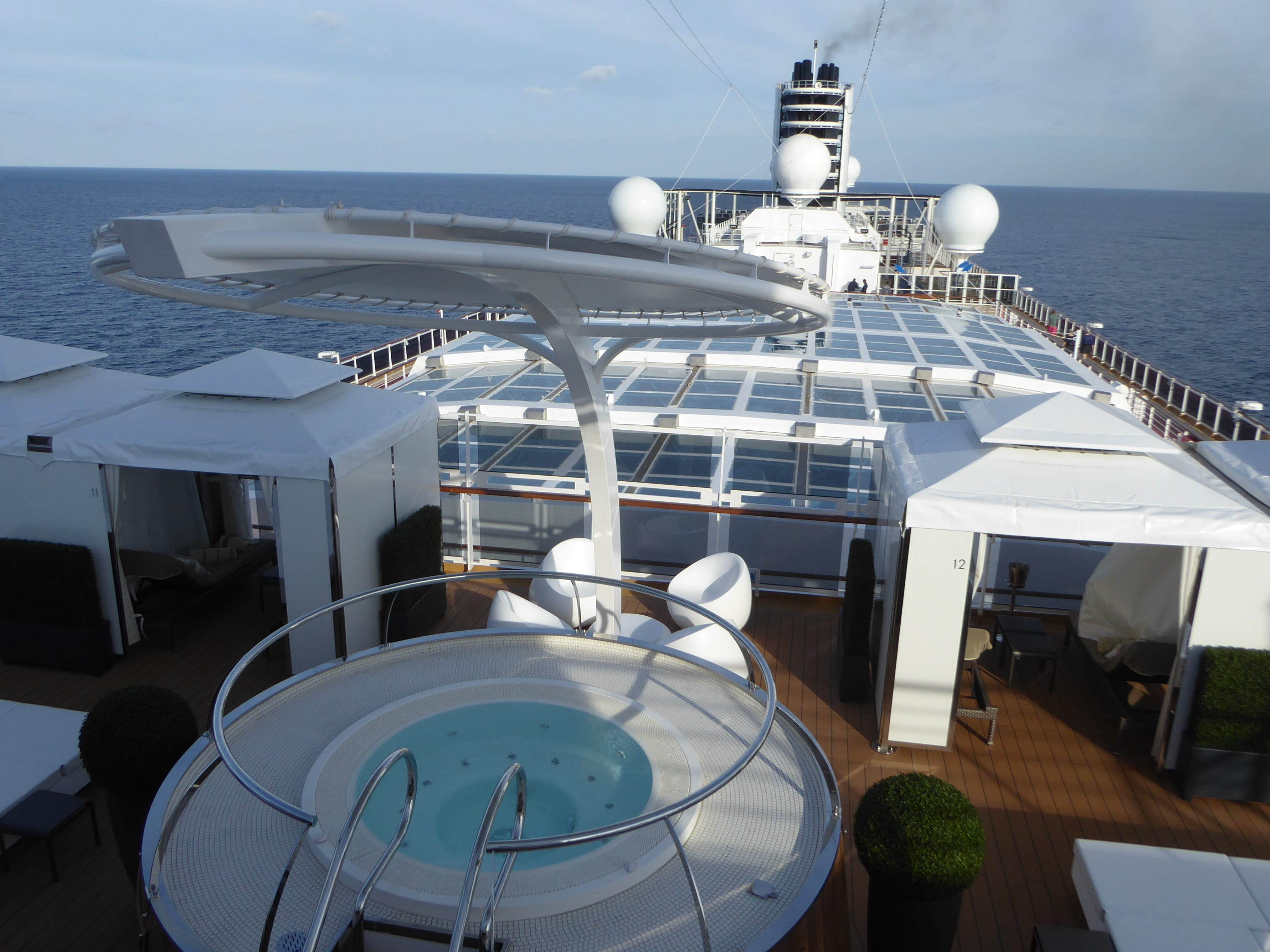 This is a view overlooking the midships portion of the Nieuw Statendam from Deck 14.