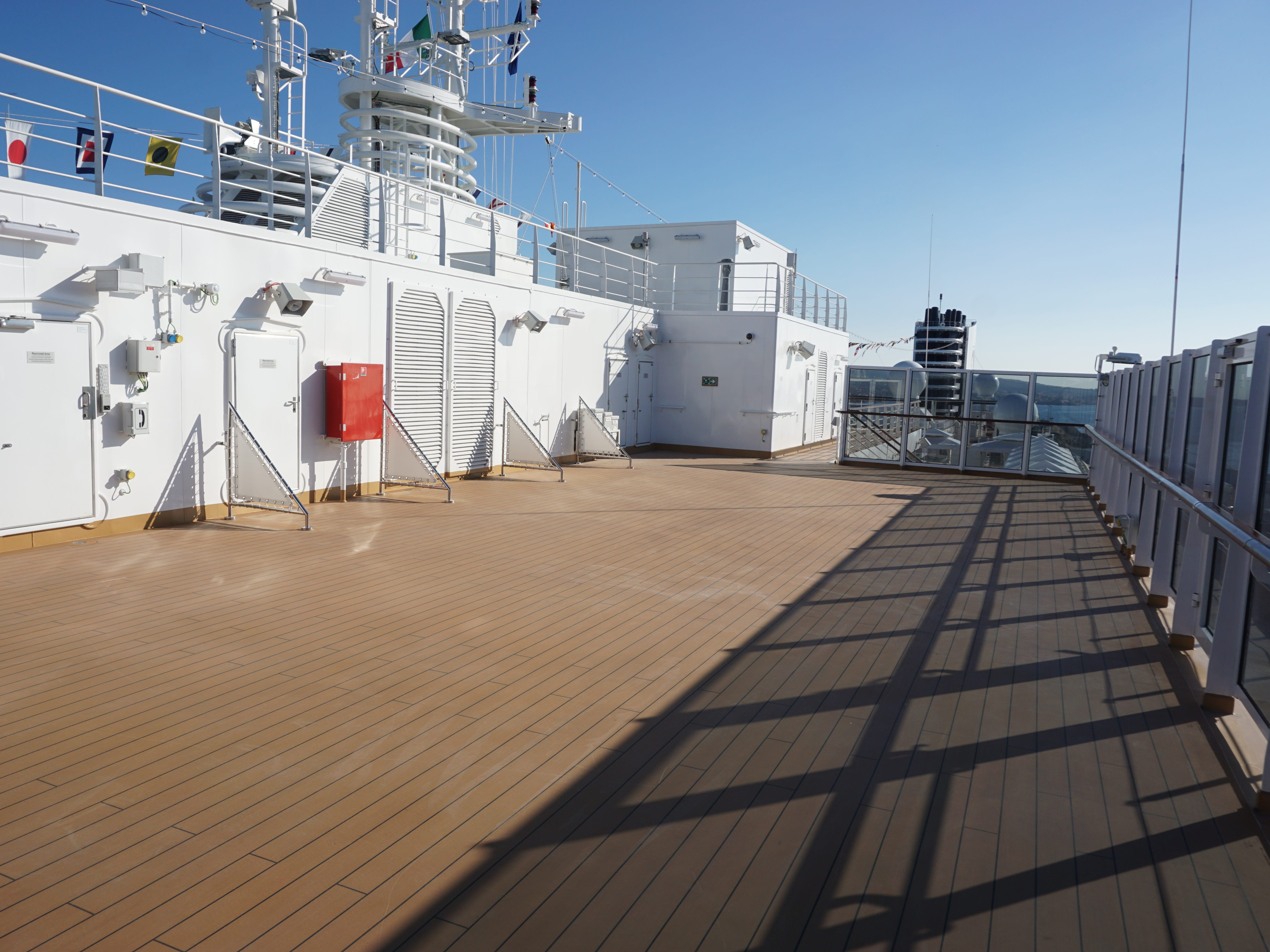 There is plenty of open sunning space on Deck 14 to accommodate cushioned deck chairs.