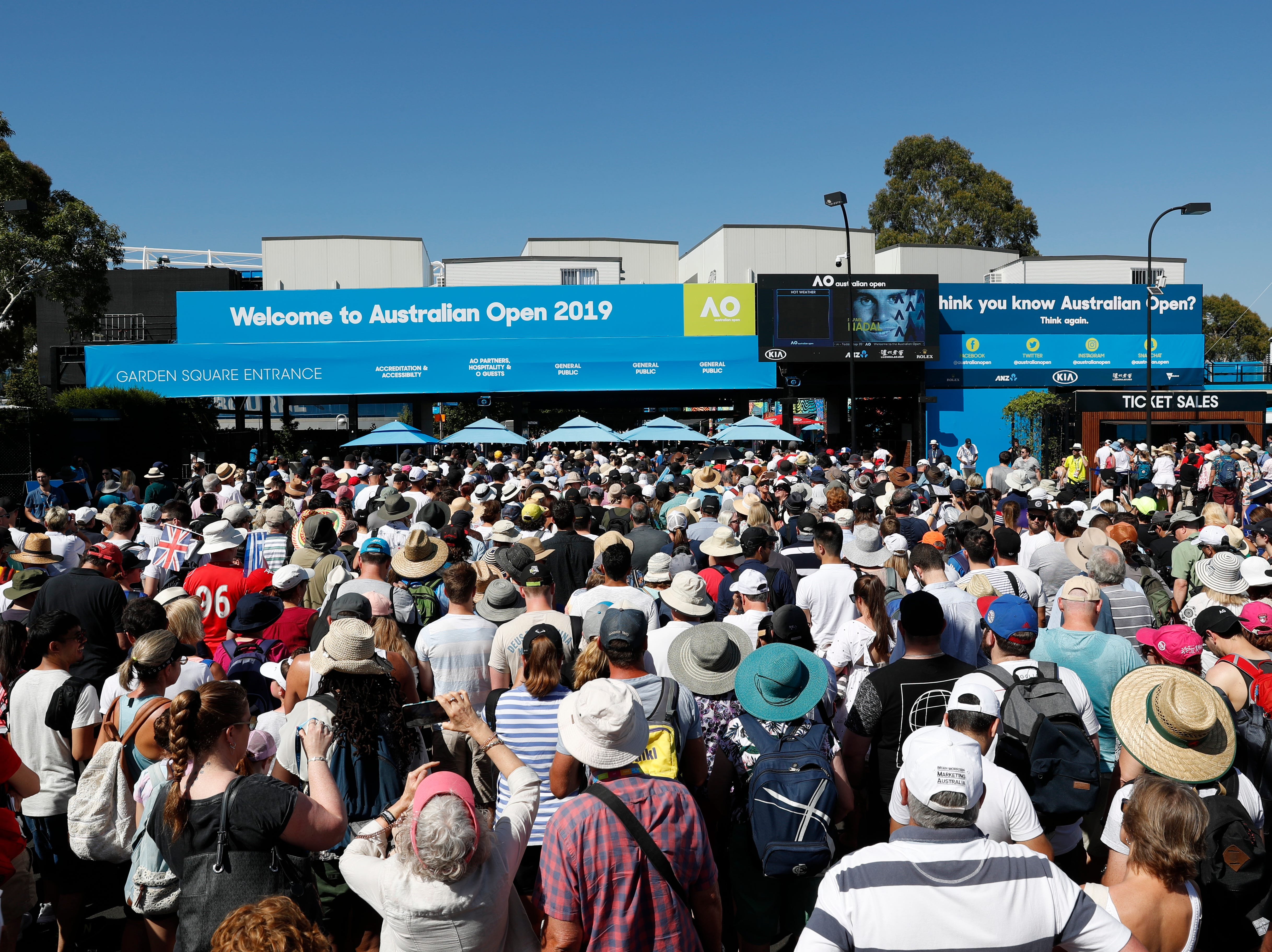 Tennis fans line up to enter Melbourne Park on Day 1 of the 2019 Australian Open.
