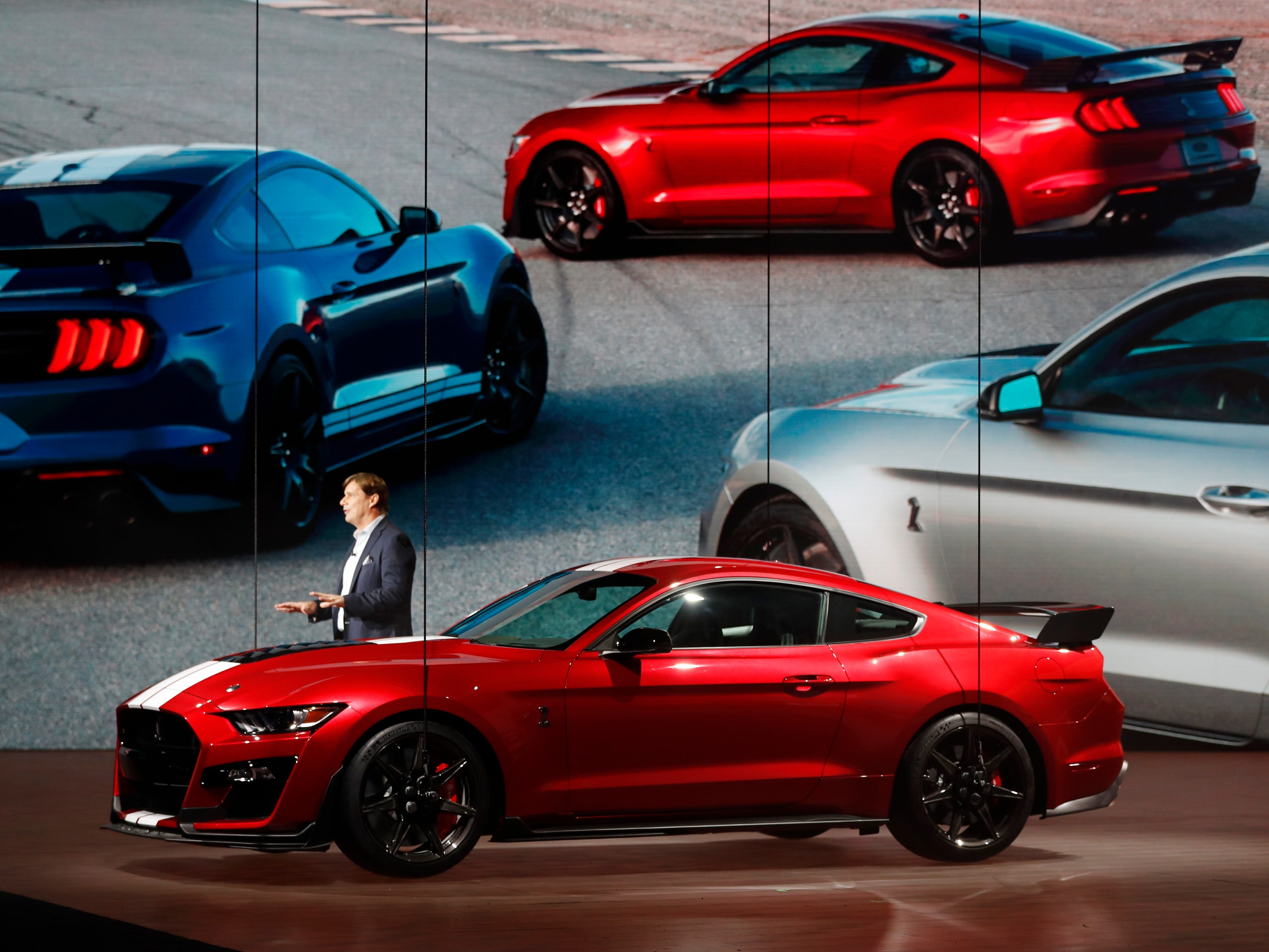 Ford Motor Company's Executive Vice President and president, Global Markets, Jim Farley introduces the 2020 Ford Mustang Shelby GT500.