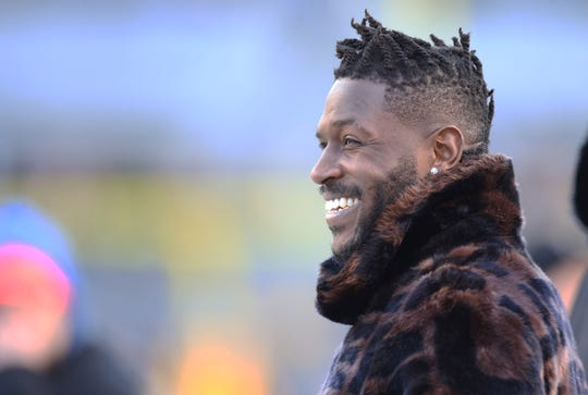 Pittsburgh Steelers wide receiver Antonio Brown (84) looks on during warm-ups before the Steelers host the Cincinnati Bengals at Heinz Field. Brown has been ruled out of the game due to injury.