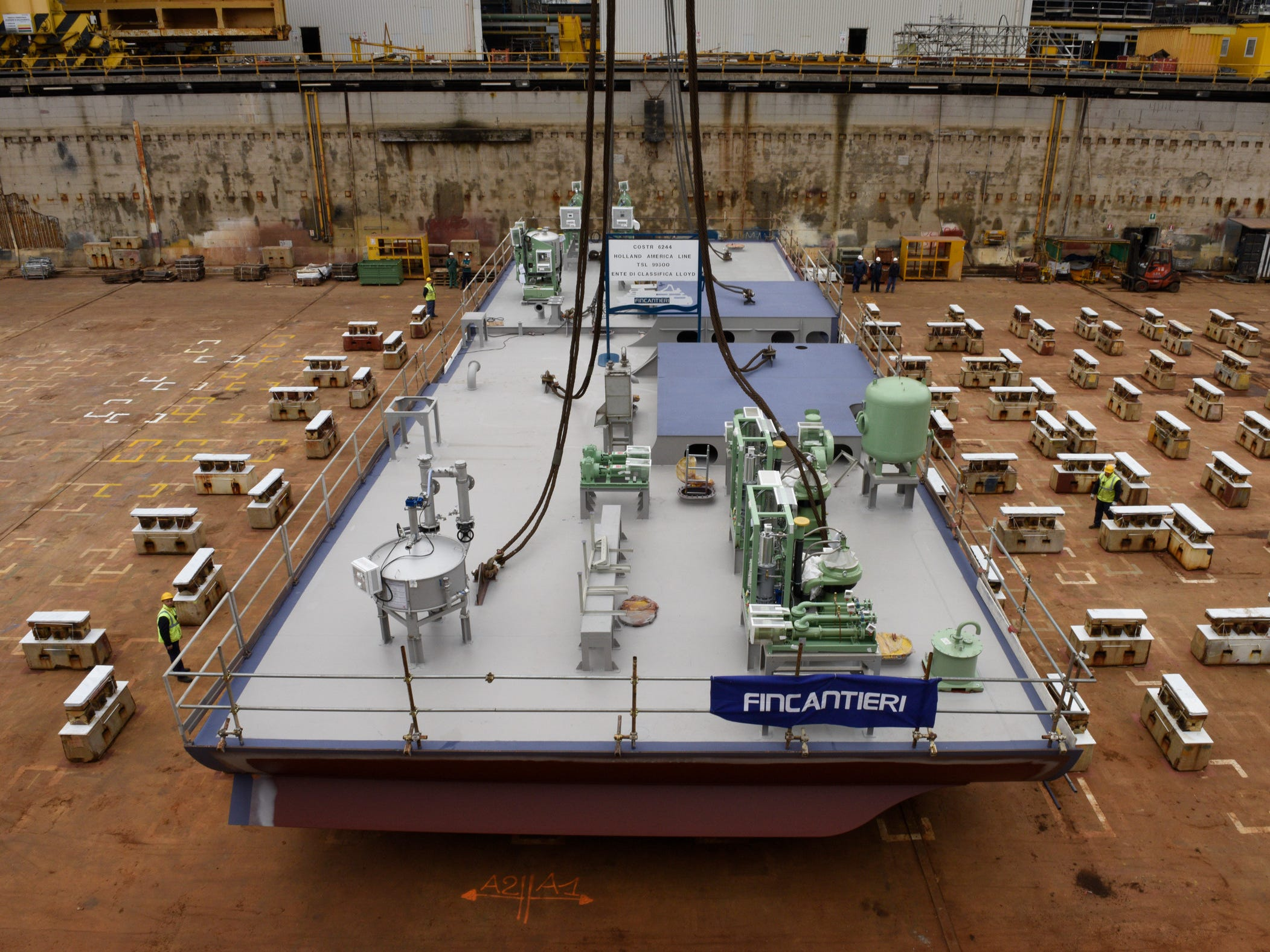 This is the first section of the 975-foot by 114.8-foot ship's hull when it was laid down at Fincantieri's Marghera (near Venice) shipyard on March 20, 2017.