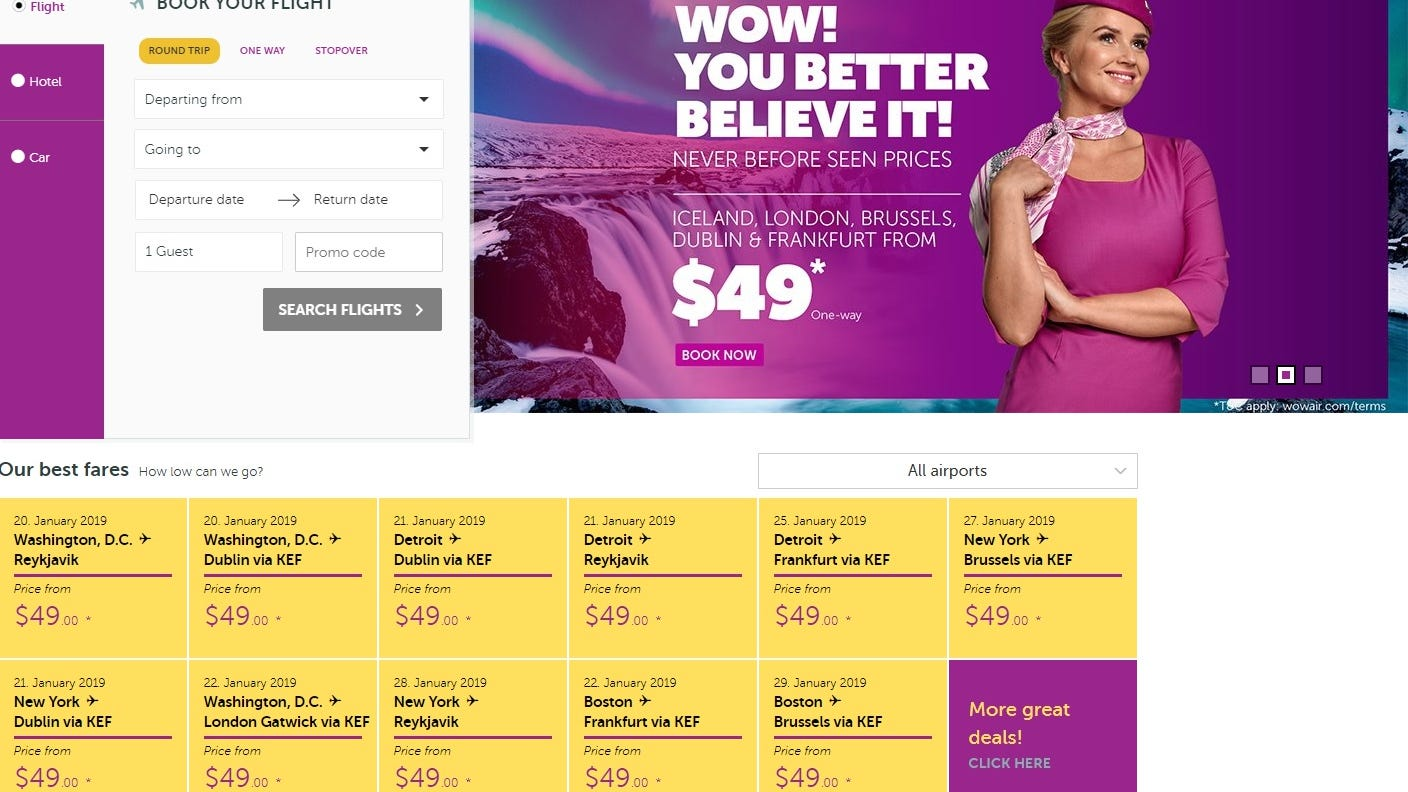 WOW Air's website advertised $49 one-way fares from the USA to Europe on Jan. 14, 2018.